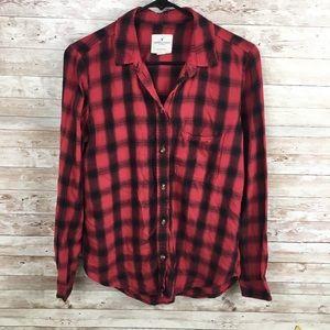 American Eagle Boyfriend Fit Red Flannel Shirt